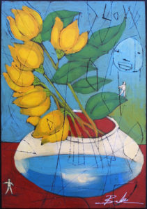 """Spring"" by Michael Banks mixed media on wood 24"" x 16.5"" unframed $800"