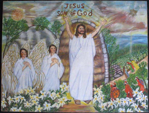 """Jesus, Son of God"" c. 1992 by Myrtice West oil on canvas 30"" x 39.75"" x 1.25"" unframed $3000 #10997"