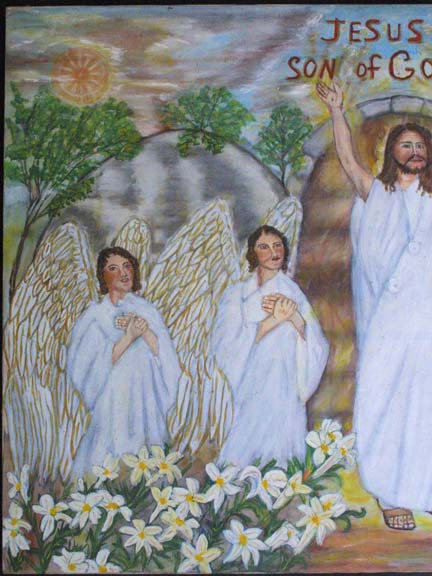 "detail ""Jesus, Son of God"" c. 1992 by Myrtice West oil on canvas 30"" x 39.75"" x 1.25"" unframed $3000 #10997"