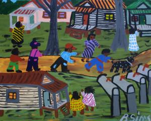 """""""My Neighborhood""""  by Bernice Sims c. 1999  acrylic on canvas  16"""" x 20""""  black frame  $750  #11032"""