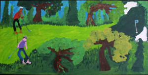 """""""Tiger and Phil"""" 2006, acrylic on wood, 24"""" x 48 """" x 1.5"""", $2400 (11056)"""