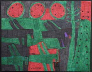 "Three Melons and Four Birds  by Willie White  permanent marker on poster board   22"" x 28""  unframed  $900   #1400"