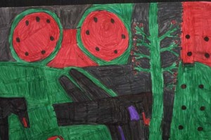 "detail Three Melons and Four Birds  by Willie White  permanent marker on poster board   22"" x 28""  unframed  $900   #1400"