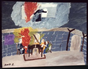 """""""From Ezekial- When God Grabbed Hold of Ezekial"""" acrylic on poster paper 22"""" x 28"""" unframed $1300 #2099"""