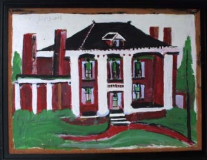 """""""Grimsley House"""" c. 1994 mud and paint on wood in wide black frame 36"""" x 24"""" $3500 (2257)"""
