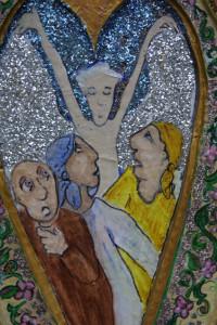 "detail ""Three Fools--Running From Angel"", acrylic on papier mache niche, 16.5"" x 11"" x 1.5"" unframed, $900u   #2913"