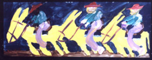 """""""Three Riders on the Run"""" by Woodie Long 9.5"""" x 26"""" art image in light natural wood frame white mat $900 #3111"""