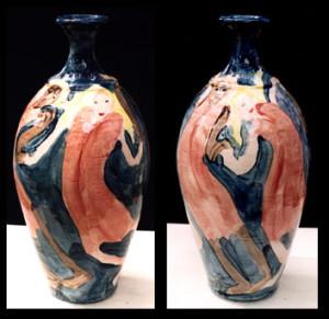 """Mulberry Bush"" pottery jug 14"" x 6"" $2000 (3173)"