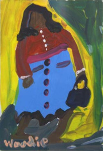 """""""Woman and Purse"""" c. '96 by Woodie Long acrylic on paper 6"""" x 4"""" in white mat and small natural wood frame $325 #3193"""