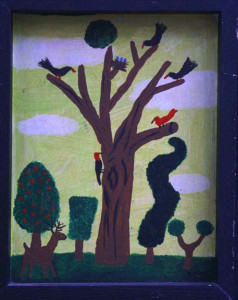 """""""Tree with Birds"""" dated 1991, acrylic on wood in artist's frame, 14"""" x 10.5"""" x 1.4"""", $600 (3289)"""