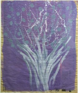 """Abstract Floral-Purple, Gray & White"" by Sybil Gibson  acrylic on newspaper  22"" x 27"" in silver leaf frame  $1100  #3432"