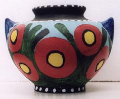 "Terra Cotta Vase dated 1991 by Chuck Crosby, acrylic on terra cotta, 7"" x 10"" x 9"", $500 #3648"