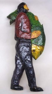 """""""Man and Fish"""" by Don Gahr  25"""" x 13"""" x 3"""" painted carved wood  $1200  #4492"""