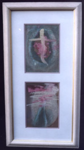 """Cross"" and ""Pyramid"" by Sybil Gibson  tempera on paper in gold leaf frame 21"" x 10.75"" includes framing  Was $760  On Sale Now $560 (4851)"
