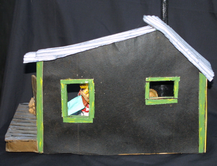 "back ""Grandma's House""c. 2002 by Hope Atkinson papier mache, cardboard, wood & found objects 9.75"" x 13.75 ""x 7"" $900 #4930"