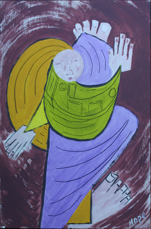 """Turning 'Round"" c. 2000  by Hope Atkinson  acrylic paint on board  24"" x  16""   $700  #5100"
