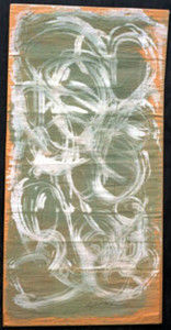 """Sea Foam Swirls""  c. 1989  by Sybil Gibson   38.5"" x 19.25""  tempera on found paper  in white 8 ply white mat,  gunmetal grey frame   $1400  #5133"