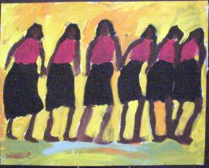 """""""Friends in Fall"""" by Woodie Long, acrylic on paper, unframed 19"""" x 24"""" $750 #5358"""