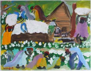 """""""Pickin' Cotton"""" by Woodie Long acrylic on paper 20"""" x 26"""" in white archival mat with light natural wood frame $2550 #5372"""