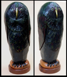 """""""Owl"""" by Don Gahr oil painted carved wood 22"""" x 8"""" x 7"""" $900 #5467"""
