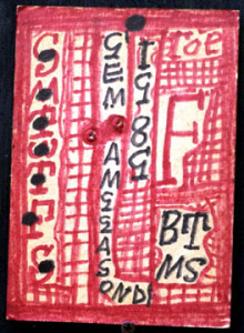 """Doomsday Calendar""  by Z. B. Armstrong dated 1989   7"" x  5""  mixed media, acrylic on found cardboard  unframed   $125     #5595"