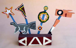 """""""Construction with Squirrel and Stars"""", c.1989 provenance: Hemphill Collection, painted, carved wood 14.5"""" x 24.5"""" x 3.5"""", $1250 (6108)"""