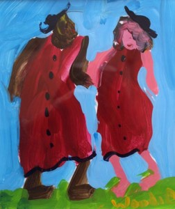 """""""Two Friends"""" by Woodie Long acrylic on paper 10"""" x 8.5"""" in archival white mat with black frame $350 #6236"""