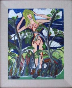 """""""Nude and Flora"""" by Joseph Hardin, acrylic on canvas in wide linen liner with black frame, 20""""x 16"""", $900 #6302"""