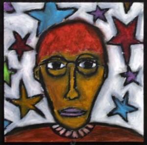 """""""Self Portrait"""" c. 2001 by Pak Nichols, oil pastel on matte board 8.25"""" x 8.25"""", framed $350 #6313"""