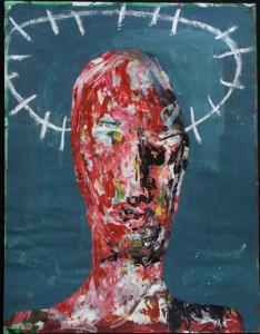 """Omega"" c. 2000 by Michael Banks  acrylic on paper 26"" x 20""  in white mat, slant black frame   $1700    #6363"