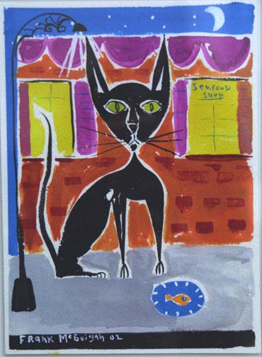 """""""Blackie's Blue Plate Special"""" by Frank McGuigan  gouache on paper  7"""" x 5"""" image in white mat black frame  $200  #6459"""