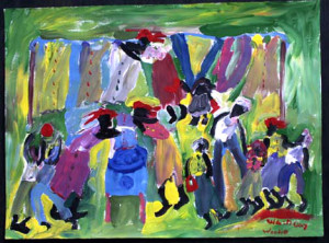 """""""Wash Day"""", acrylic on paper, 24"""" x 30"""", $1850 (6571)"""