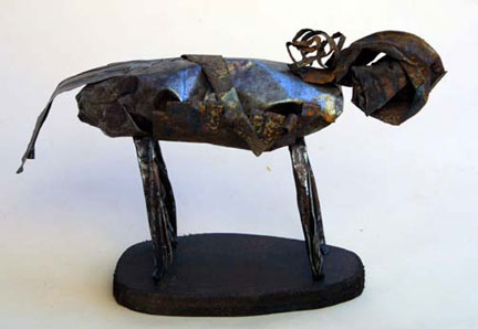 """Lullyby Creature- Standing"" by Jerry Coker  found metal and wood  9"" x 13"" x 5""  $325  #6652"