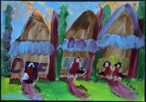 """""""Neighbors"""" acrylic on paper 9"""" x 13"""" in black frame, white mat $575 (6919)"""