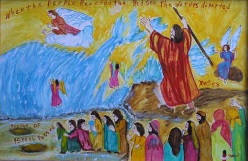 """""""Moses Parting the Red Sea"""" by Myrtice West  oil on canvas in gold leaf frame  24"""" x 36""""  $1200   #6972"""