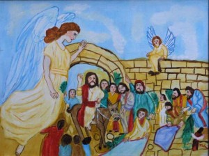 """""""Jesus on the First Palm Sunday"""" by Myrtice West   oil on canvas 18"""" x 24"""" in gold leaf frame  $600  #6973"""