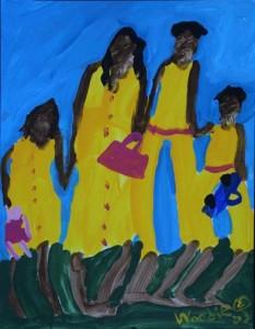 """""""Family"""" acrylic on paper 13"""" x 10"""", framed in white mat, black frame $550   #7178"""