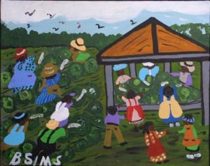 """Picking Cabbages"" by Bernice Sims  16"" x 20"" acrylic on canvas in black frame  $800  #7217"