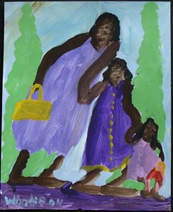 """""""Mother and 2 Daughters"""" acrylic on paper 13"""" x 10.5"""" $420 (7457)"""