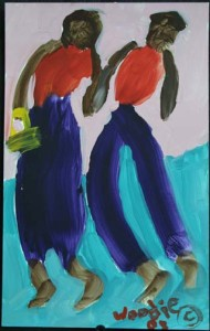 """""""Couple in Purple Skirt, Pants, Red Tops"""" acrylic on paper 10"""" x 6.5"""" $270 (7462)"""