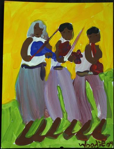 """""""Musicians"""" by Woodie Long acrylic on paper 11 """"x  8.5""""  in archival white mat with black frame  $355  #7471"""