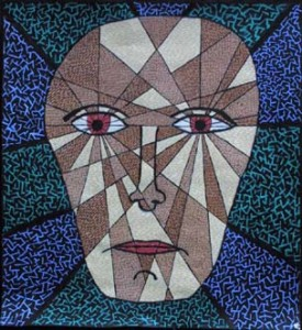 """""""Fragmenting Head"""" c. 2004 by Pak Nichols  acrylic on paper  24"""" x 22"""" in white mat, black frame  $450  #7648"""