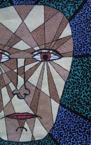 "detail ""Fragmenting Head"" c. 2004 by Pak Nichols acrylic on paper 24"" x 22"" in white mat, black frame $450 #7648"