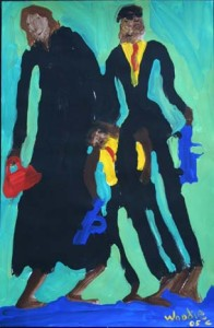 """""""Sunday"""" acrylic on paper in black frame 19"""" x 12"""" $1170 (8020)"""