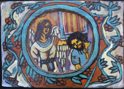 """""""The Angel with John the Baptist""""  in artist's painted cardboard frame  $450  #8124"""