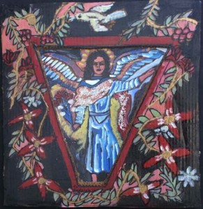"""""""Angel and Bird of Peace"""" by Rudolph Valentino Bostic 20.25"""" x 19.5"""" mixed media on cardboard in black shadowbox frame $675 #8126"""