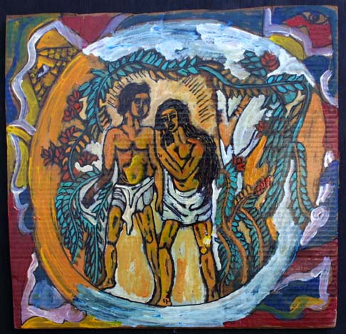 """""""Adam and Eve in Paradise"""" by Rudolph Valentino Bostic mixed media on cardboard 20.5"""" x 21"""" in black shadowbox frame $875 #8129"""
