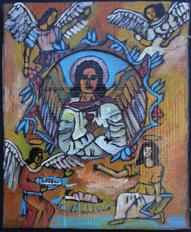 """Angel of the Nativity"" by Rudolph Valentino Bostic  mixed media on cardboard  24.5"" x 20""  unframed  $600  #8132"