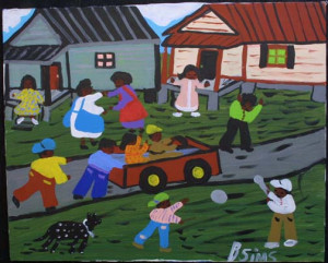 """Oh, Happy Day""  by Bernice Sims  c.1998  acrylic on canvas 16"" x 20"" in black frame $800  #8446"