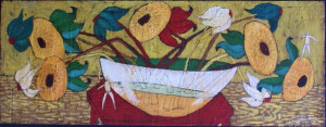 """""""Love Songs"""" c. 2006  by Michael Banks  mixed media on wood  18.25"""" x 48""""  in black shadowbox frame  $2300  #8802"""